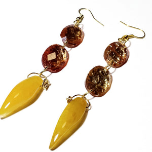 HoneyComb - Yellow Shiny Gold Dangle Earrings - D-Nadz Jewelry