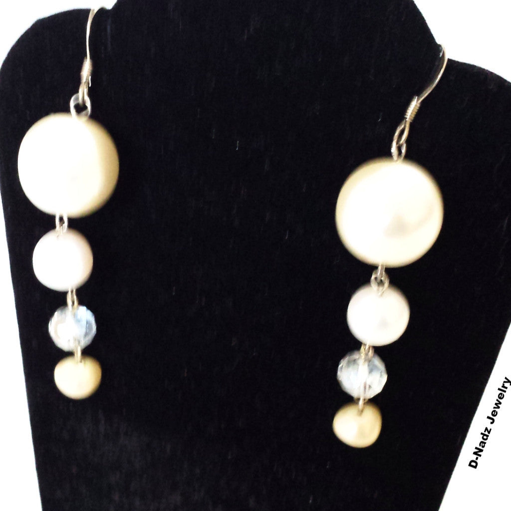 Moons - White pearls crystal dangle earrings - D-Nadz Jewelry