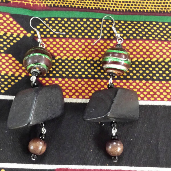 Black wood with green and brown wood earrings