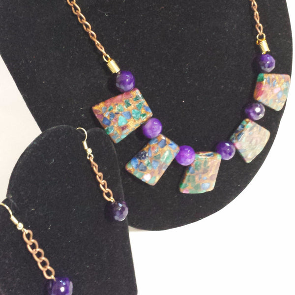 Purple Glory - Multicolor Purple Necklace set - D-Nadz Jewelry