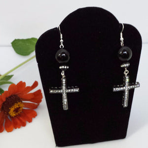 Black Onyx earrings with dangling cross