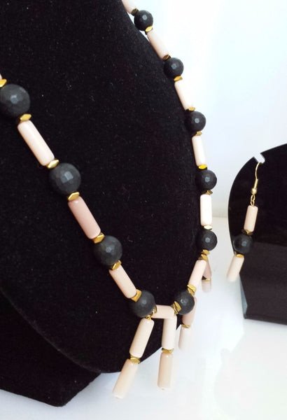 Cats Eye and Matte Black Onyx necklace and earring set