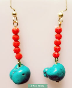 Orange on Turquoise Earrings - D-Nadz Jewelry