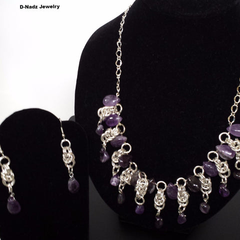 Necklace and earrings amethyst and silver chain links blue