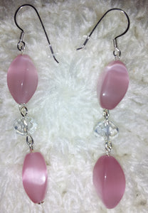 Pink Cats eye with clear crystal stones and silver earwires