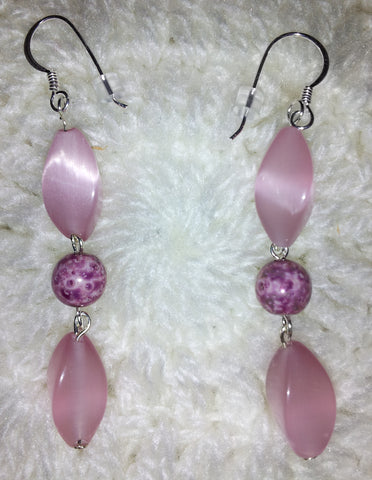 Amethyst and pink cats' eye with silver ear wires.