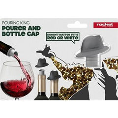 Hat wine pourer and bottle cap