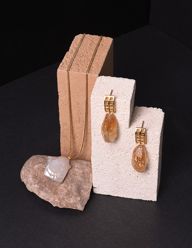 Open Grid Citrine Pendant Earrings and Simple Baroque Pearl Pendant Chain