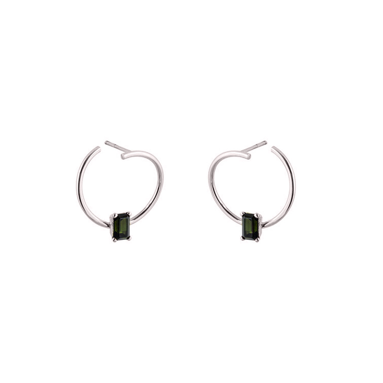 18k white gold tourmaline hoops