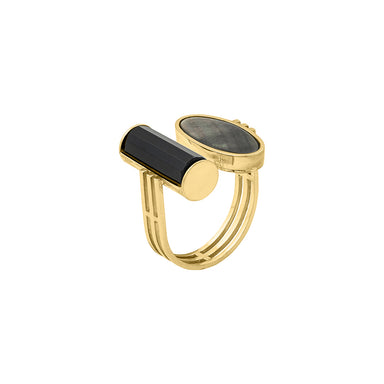 gold agate mother of pearl ring