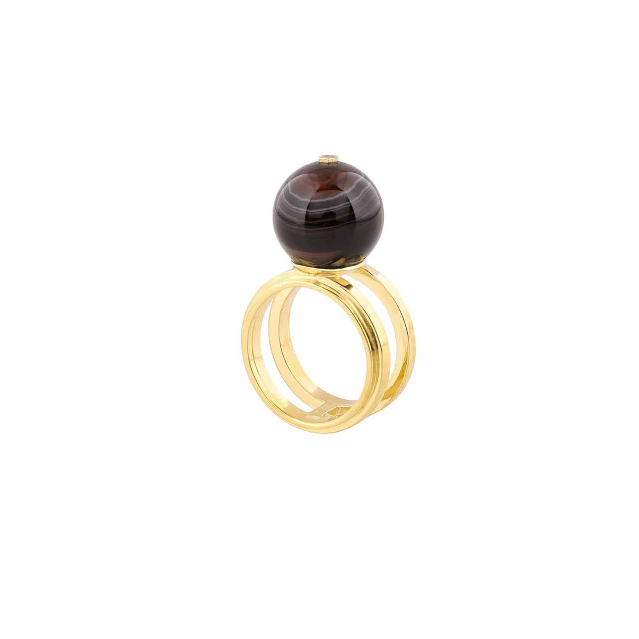 gold agate sphere ring