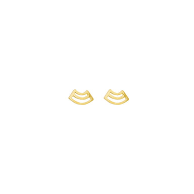 gold arched pattern stud earrings