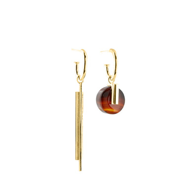 gold asymmetric agate earrings