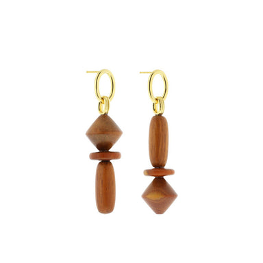 gold asymmetric bayong wood earrings
