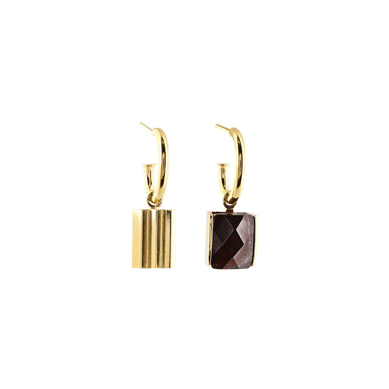 gold asymmetric mokaïte earrings