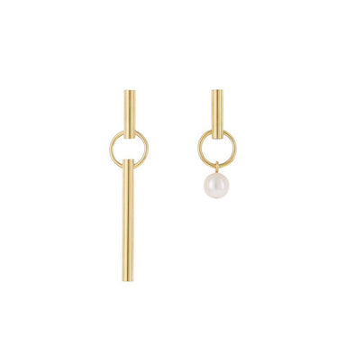 gold asymmetric pearl earrings