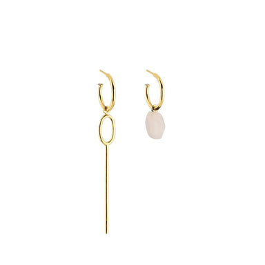 gold asymmetric rose quartz hoop earrings