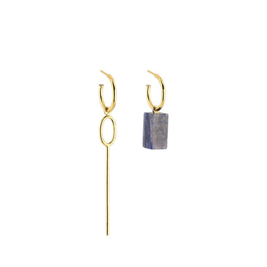 gold asymmetric sodalite hoop earrings