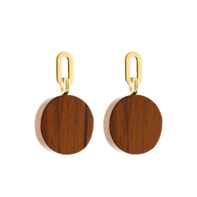 gold bayong wood disk earrings