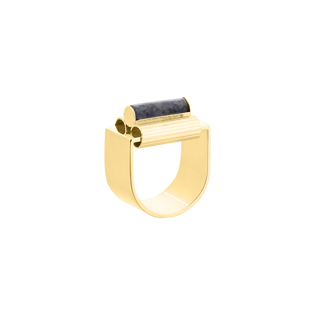 gold chunky dumortierite ring