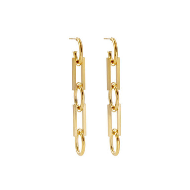 gold chunky link earrings