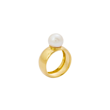 gold chunky white pearl ring