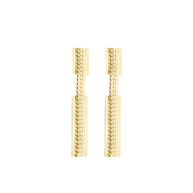 gold dangly chain-link earrings