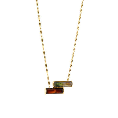 gold double agate pendant necklace