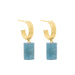 gold double aquamarine hoops