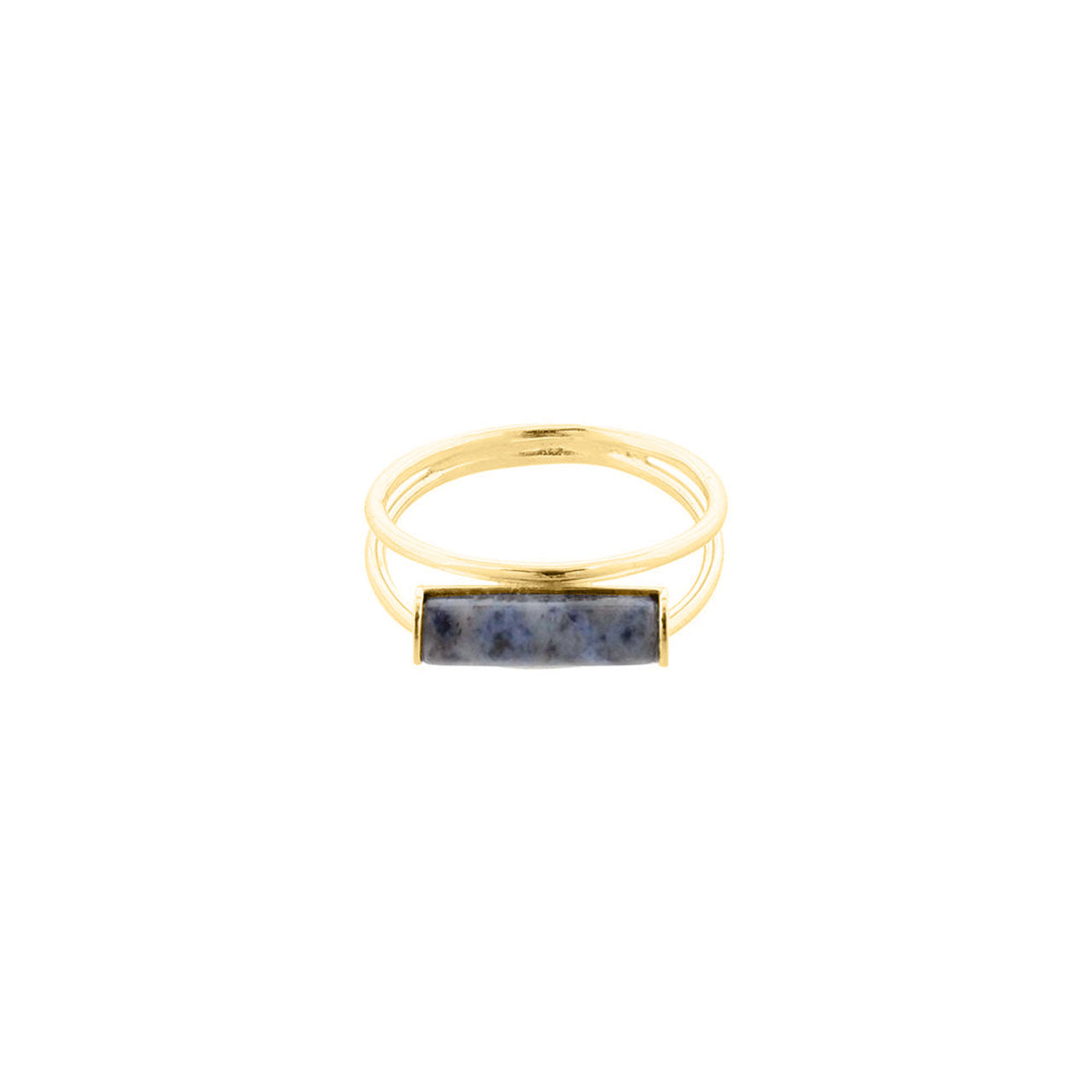 gold dumortierite cylinder ring