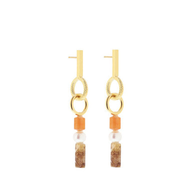 gold eclectic statement earrings