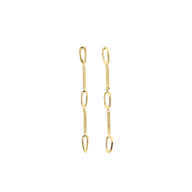 gold elegant long chain earrings
