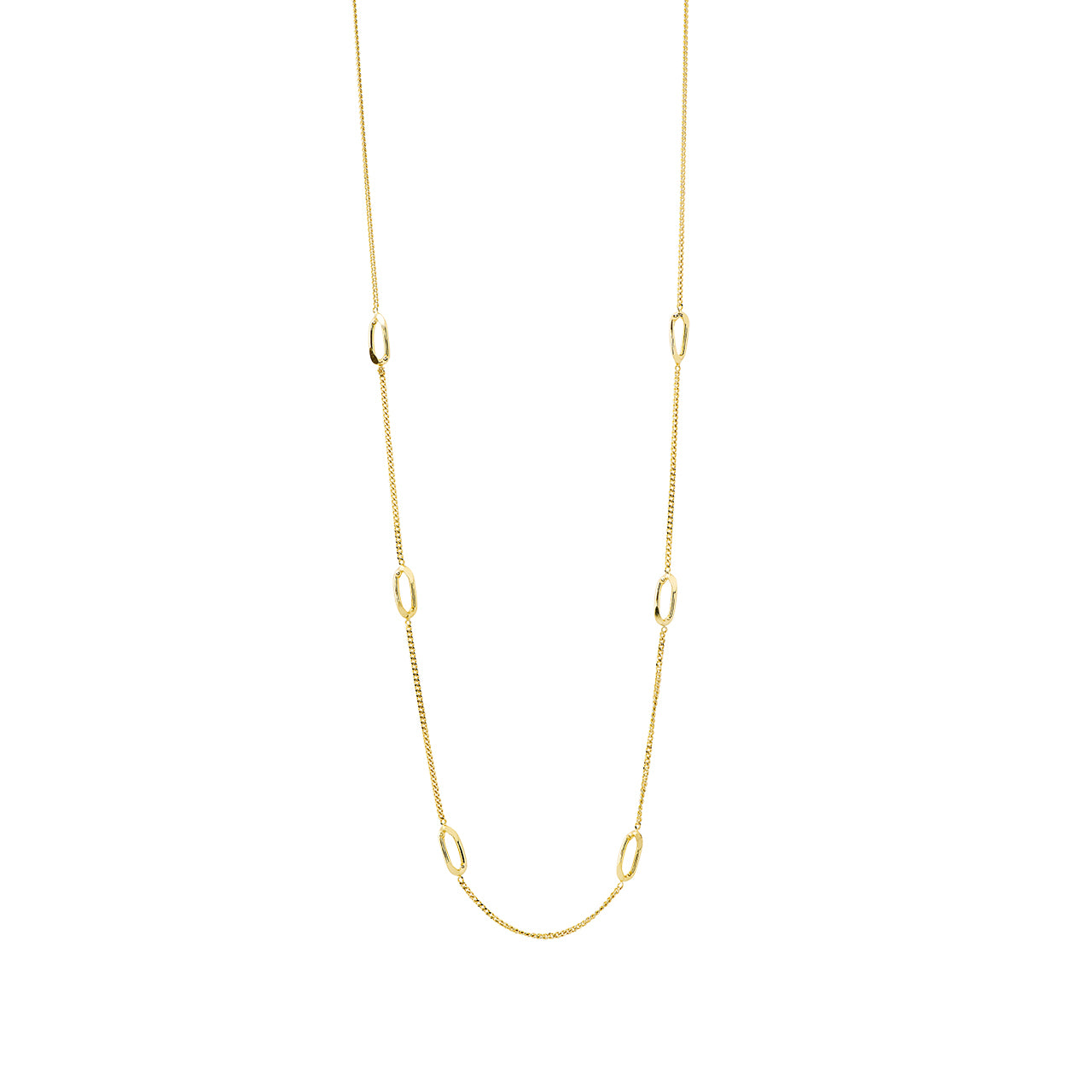 gold elegant long chain necklace