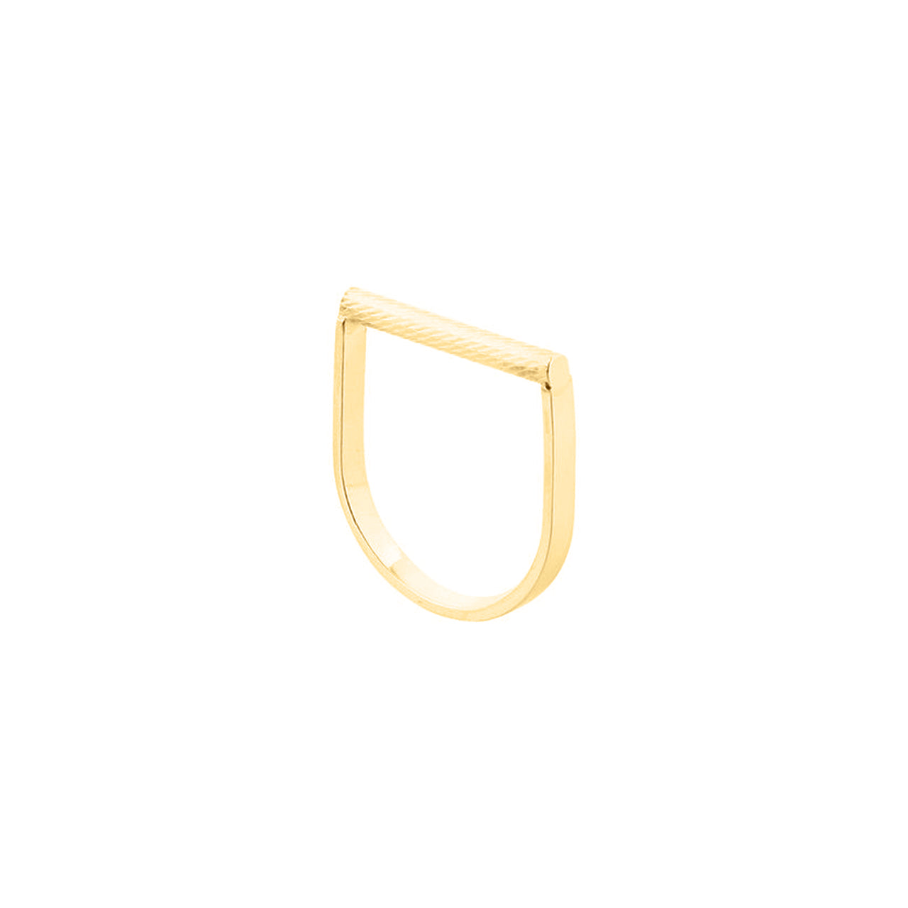 gold engraved round bar u-shape ring