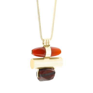 gold jasper and agate statement necklace