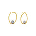 gold large twist pearl hoops