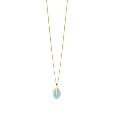 gold long aquamarine pendant necklace