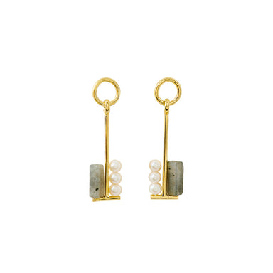 gold long labradorite earrings