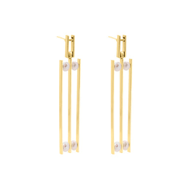 gold long statement pearl earrings