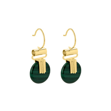 gold malachite pendant hook earrings