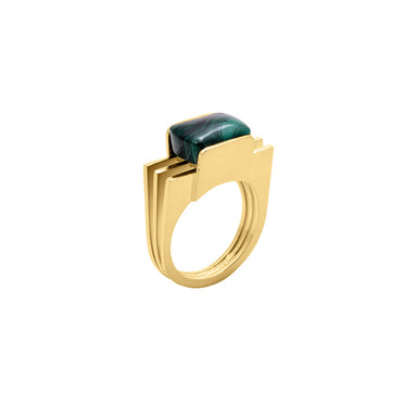 gold malachite statement ring