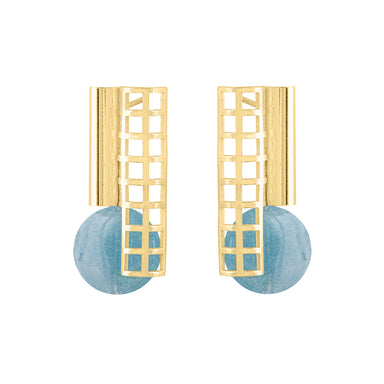 gold open grid aquamarine earrings