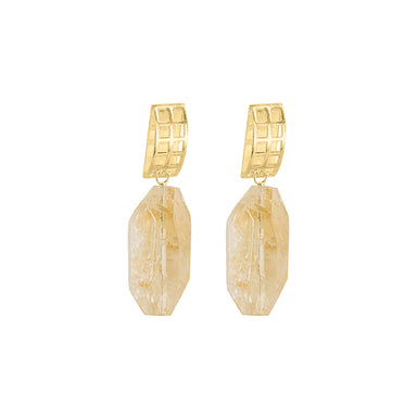 gold open grid citrine earrings