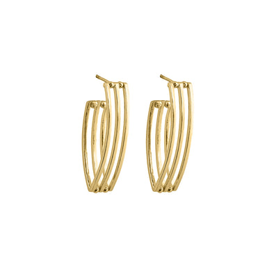 gold open grid hoop earrings