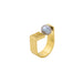 gold open grid pearl ring