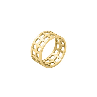 gold open grid ring