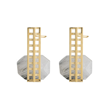 gold open grid tourmaline quartz earrings