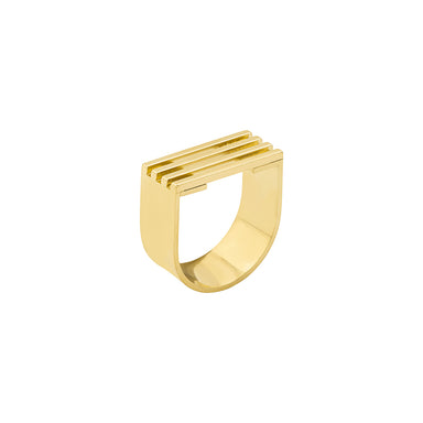gold open grid u shape ring