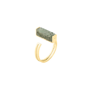 gold open labradorite ring
