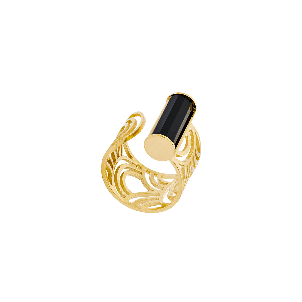 gold open onyx arched pattern ring